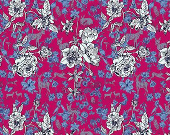 SALE Woodland Walk Nathalie Lete Anna Maria Conservatory Fawn in Flower - Pink -FQ BTHY Yard- FreeSpirit Cotton Quilt Fabric 9-21