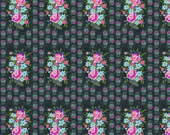 Hindsight by Anna Maria Horner for Free Spirit Fabrics - Stitched Bouquet - Dim - FQ BTHY Yard - Cotton Quilt Fabric 9-21