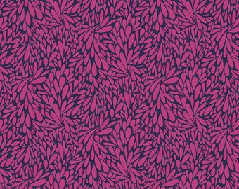 SALE Solstice by Sally Kelly - Magenta Navy Leafy  - 51934 7 - Select a Size- FQ - half or full yard- Windham Cotton Quilt Fabric K