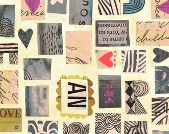 Wish by Carrie Bloomston for Windham Fabrics - Postage Stamps - Old Paper - 51742-1 - Cotton Quilt Fabric FQ BTHY Yard 8-21