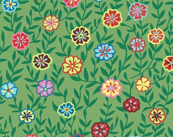 Kaffe Fassett Collective - Busy Lizzy - Floral Green - PWGP-175 - FQ Fat Quarter BTHY Yard cotton quilt fabric 1021