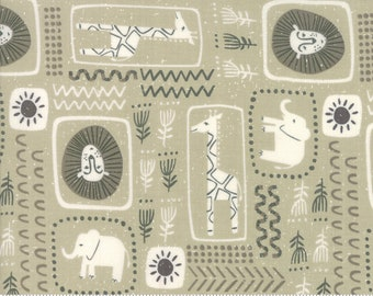SALE Safari Life by Stacy Iest Hsu for Moda - African Black Print - Tan - Khaki - 100% Cotton Quilt Fabric - Choose your Size