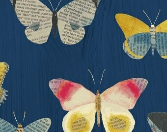 Wonder by Carrie Bloomston for Windham Fabrics - Newspaper Butterflies - Navy - 50515-2 - Cotton Quilt Fabric - Choose your Size 2020