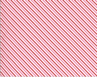 Be Mine by Stacy Iest Hsu for Moda - Candy Stripe - Love Dove - White - 20716 11 - 100% Cotton Quilt Fabric - Choose your Size K