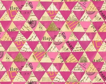 Wish by Carrie Bloomston for Windham Fabrics - Collaged Triangles - Hot Pink - 51743M-6 - Cotton Quilt Fabric FQ BTHY Yard 8-21