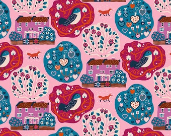 Homeward Monika Forsberg Anna Maria's Conservatory Free Spirit - My Block Mini Pink MF019 - Cotton Quilt Fabric - FQ BTHY Yard 9-21