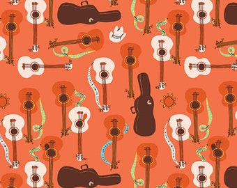 Pre-Order - Far Far Away 3 by Heather Ross for Windham - Guitars - Red Orange - 52754-8 - Select a Size - Cotton Quilt Fabric
