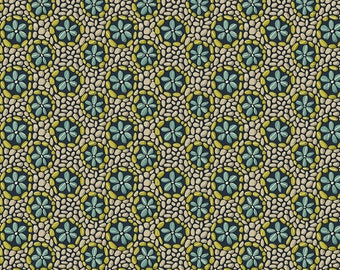 SALE Land Art by Odile Bailloeul for Free Spirit - Stone Flowers - Navy Blue - 100% Cotton Quilt Fabric - FQ BTHY Yard 921
