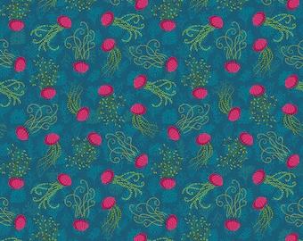 Mini Aquatic - MagiCountry by Odile Bailloeul for Free Spirit - Blue PWOB058 - FQ Fat Quarter BTHY Yard - Cotton Quilt Fabric 1021