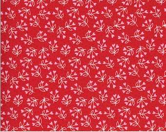 Be Mine by Stacy Iest Hsu for Moda - Loves A Bloom - Kisses - Red - 20715 14 - 100% Cotton Quilt Fabric - Choose your Size K
