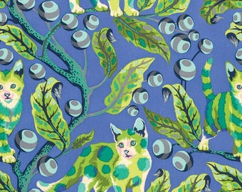 Tabby Road by Tula Pink for Free Spirit - Disco Kitty - Blue Bird - Fat Quarter or 1/2 Yard Cotton Quilt Fabric 8-21B
