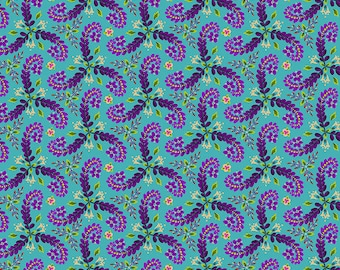 Fronds - MagiCountry by Odile Bailloeul for Free Spirit - Turquoise PWOB056 - FQ Fat Quarter BTHY Yard - Cotton Quilt Fabric 1021