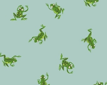 OOP Kinder by Heather Ross for Windham Fabrics - Frogs - 43484-9 Pale Blue - FQ BTHY Yard Cotton Quilt Fabric 921