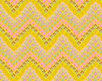 Fall 2017 by Kaffe Fassett for Free Spirit - Trefoil - Yellow - FQ Fat Quarter cotton quilt fabric K