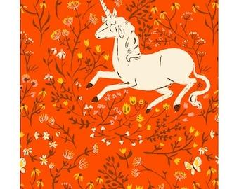 Heather Ross 20th Anniversary Reprint Windham Fabrics - 39657A-7 Orange Unicorns - Cotton Quilt Fabric FQ BTHY Yard 921