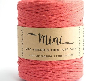 Mini Tube - Coral  80/20 Recycled Cotton & Polyester Twisted Cord Tube Yarn by Lankava