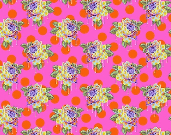 Curiouser & Curiouser by Tula Pink - Painted Roses Daydream- TP161.DAYDREAM Cotton Quilt Fabric - Fat Quarter fq BTHY Yard