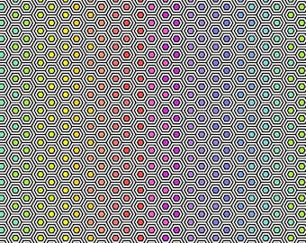 Linework by Tula Pink - Hexi Rainbow - Ink Black - Select a Size - Cotton Quilt Fabric 8-21+B
