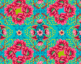 Gecko - MagiCountry by Odile Bailloeul for Free Spirit - Turquoise PWOB052 - FQ Fat Quarter BTHY Yard - Cotton Quilt Fabric 1021
