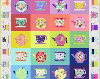 The Mad Hatter Tea Party Quilt Kit featuring Curiouser & Curiouser by Tula Pink