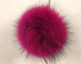 Snap on Raccoon XL Pom Pom 15 cm - Hot Pink Fucshia