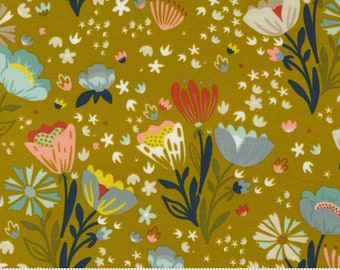 Songbook by Fancy That Design House  - Dijon Yellow Floral - 45522 17 - Cotton Quilt Fabric - Fat Quarter fq BTHY By the half yard