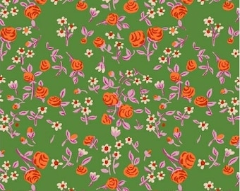 OOP Trixie by Heather Ross Windham Fabrics - 50898-6 - Mousies Floral - Kelly Green - Cotton Quilt Fabric - FQ BTHY Yard 921