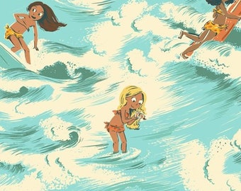 Malibu by Heather Ross for Windham - Sayulita - Aquamarine - 52145-2 - Cotton Quilt Fabric - FQ BTHY Yard 921