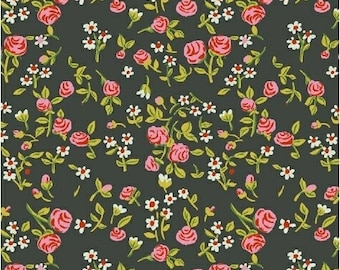 OOP Trixie by Heather Ross Windham Fabrics - 50898-3 - Mousies Floral - Dark Green - Cotton Quilt Fabric - FQ BTHY Yard 921