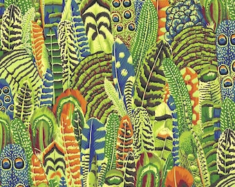 Kaffe Fassett Collective - Philip Jacobs - Feathers - Green Lime - PWPJ055 - FQ Fat Quarter BTHY Yard -100% Cotton Quilt Fabric 1021