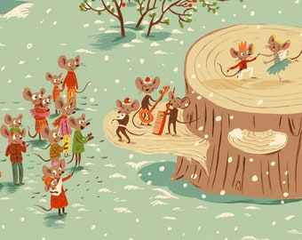 Sugarplum by Heather Ross for Windham Fabrics - Christmas Mice - Aqua - 50165-1 - 1/2 Yard Quilt Fabric 921