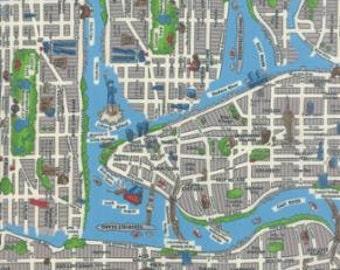 Passport by Moda - New York City Map - Multi - 33010 1/2 Yard Cotton Quilt Fabric - 921