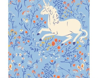 Heather Ross 20th Anniversary Reprint Windham Fabrics - 39657A-4 Blue Unicorns -  Cotton Quilt Fabric FQ BTHY Yard 921