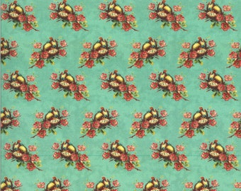 SALE Flea Market Mix by Cathe Holden for Moda - Nesting Birds - Patina - Turquoise - Select a Size - Cotton Quilt Fabric