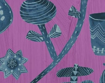Dreamer by Carrie Bloomston for Windham Fabrics - Favorite Things - Orchid Purple & Teal Blue - FQ BTHY Yard Cotton Quilt Fabric 8-21