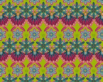 Mini Plumettes - MagiCountry by Odile Bailloeul for Free Spirit - Green PWOB051 - FQ Fat Quarter BTHY Yard - Cotton Quilt Fabric 1021