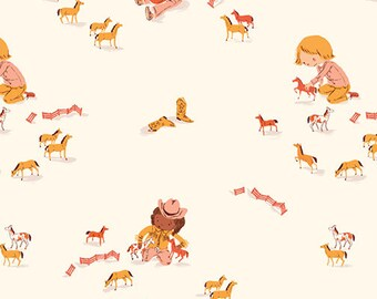 Pre-Order - Far Far Away 3 by Heather Ross for Windham - Play Horses - Cream - 52753-5 - Select a Size - Cotton Quilt Fabric