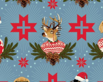 Holiday Homies by Tula Pink for Free Spirit - Buck, Buck, Goose - Blue Spruce - FQ BTHY Yard Cotton Quilt Fabric 8-21
