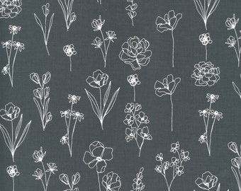 Illustrations by Alli K Design for Moda - Floral Doodle - Graphite Grey - 11505 24 - 100% Cotton Quilt Fabric - Choose your Size