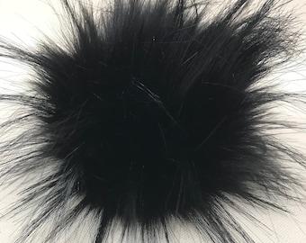 Snap on Faux Raccoon Pom Pom 13-15 cm - Ebony Black