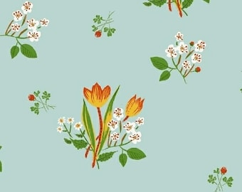 OOP Kinder by Heather Ross for Windham Fabrics - Spring Blooms - 43482-9 Light Blue - FQ BTHY Yard Cotton Quilt Fabric 921