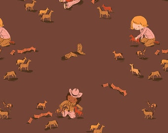 Pre-Order - Far Far Away 3 by Heather Ross for Windham - Play Horses - Cocoa - 52753-6 - Select a Size - Cotton Quilt Fabric