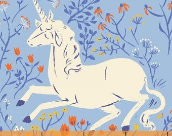 OOP Heather Ross Far Far Away Reprint Windham Fabrics - 39657-4 Blue Unicorns - FQ BTHY Yard cotton quilt fabric 921