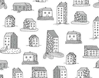 Home by Virginia Kraljevic Windham Fabrics - Home Sweet Home White - 52661-1 - Cotton Quilt Fabric - FQ BTHY Yard K