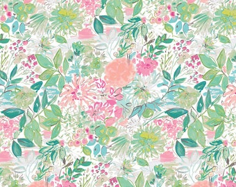 Adelaide Grove by Dena Designs - Garden - Aqua  DF306 - FQ -half yard -full yard- FreeSpirit Cotton Quilt Fabric K
