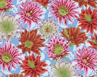 Kaffe Fassett Spring 2019 Brandon Mably FreeSpirit - Cactus Flower - Turquoise Multi - Cotton Quilt Fabric - FQ Fat Quarter BTHY Yard 1021