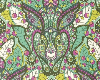 Slow & Steady by Tula Pink for Free Spirit - The Hare - Strawberry Kiwi - Cotton Quilt Fabric 8-21B