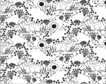 Dwell in Possibility by Gingber for Moda - Meadow Deer - Ivory - Night - Black - 48313 19 - 100% Cotton Quilt Fabric - Choose your Size K
