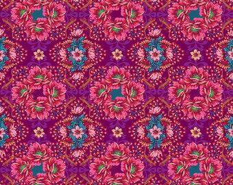 Mini Gecko - MagiCountry by Odile Bailloeul for Free Spirit - Plum PWOB053 - FQ Fat Quarter BTHY Yard - Cotton Quilt Fabric 1021