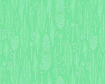 wee wander by Sarah Jane for Michael Miller - twilight nature walk green - 1/2 yard cotton quilt fabric 1021